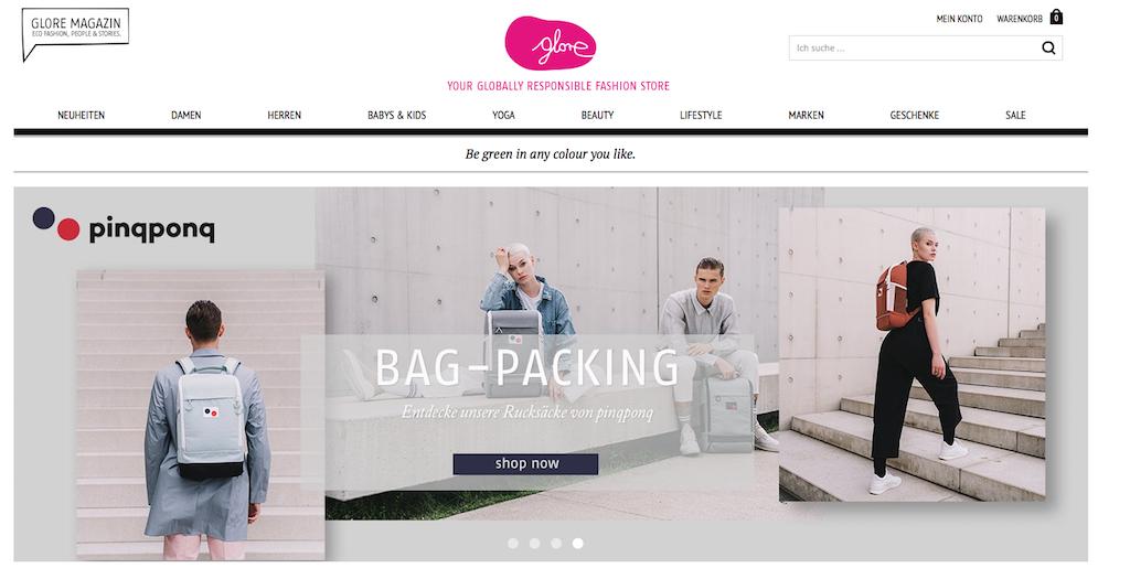 Die Website von dem grünen Online-Shop Glore