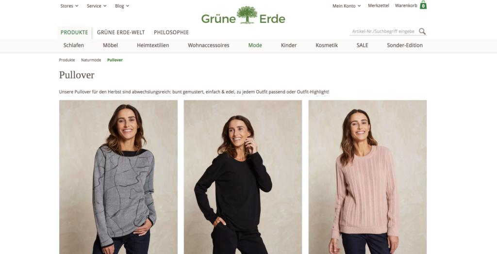 Bei Grüne Erde kann man faire Mode auch online shoppen