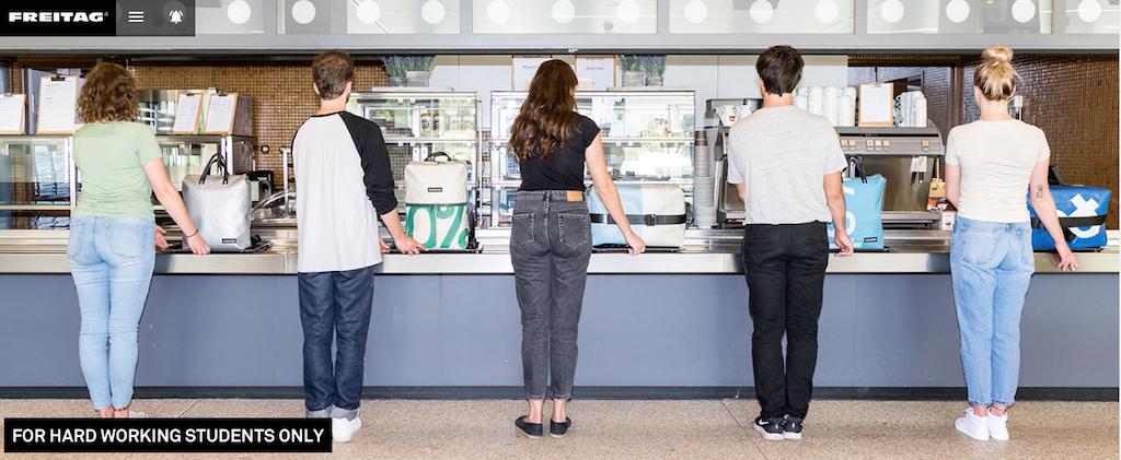 Die Website des deutschen Taschenherstellers Freitag