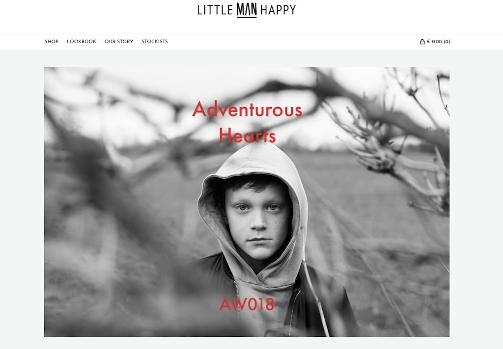 Die Website von dem nachhaltige Kindermode-Label Little Man Happy