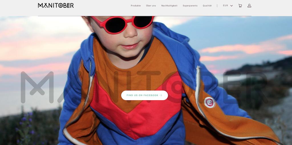 Nachhaltige Mode für Kinder auf der Website von Manitober