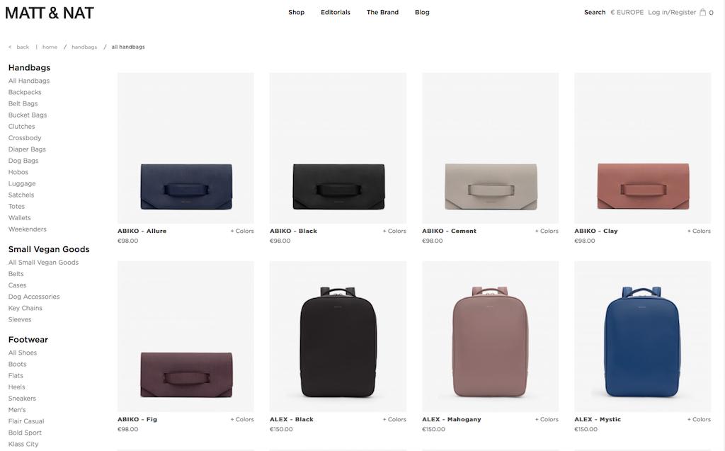 Der Onlineshop des nachhaltige Taschenlabels Matt & Nat