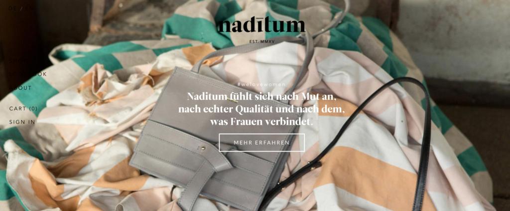 Die Website des Herstellers Naditum von nachhaltigen Taschen