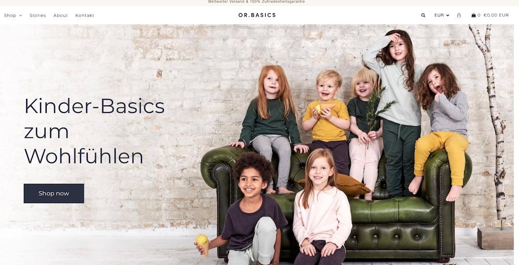Nachhaltige Mode für Kinder auf der Website von Orbasics