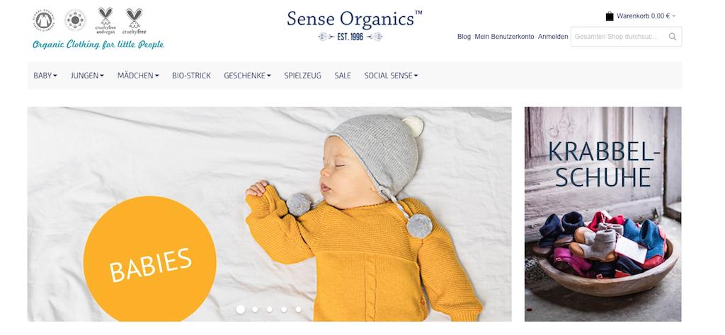 Nachhaltige Mode für Kinder auf der Website von Sense Organics