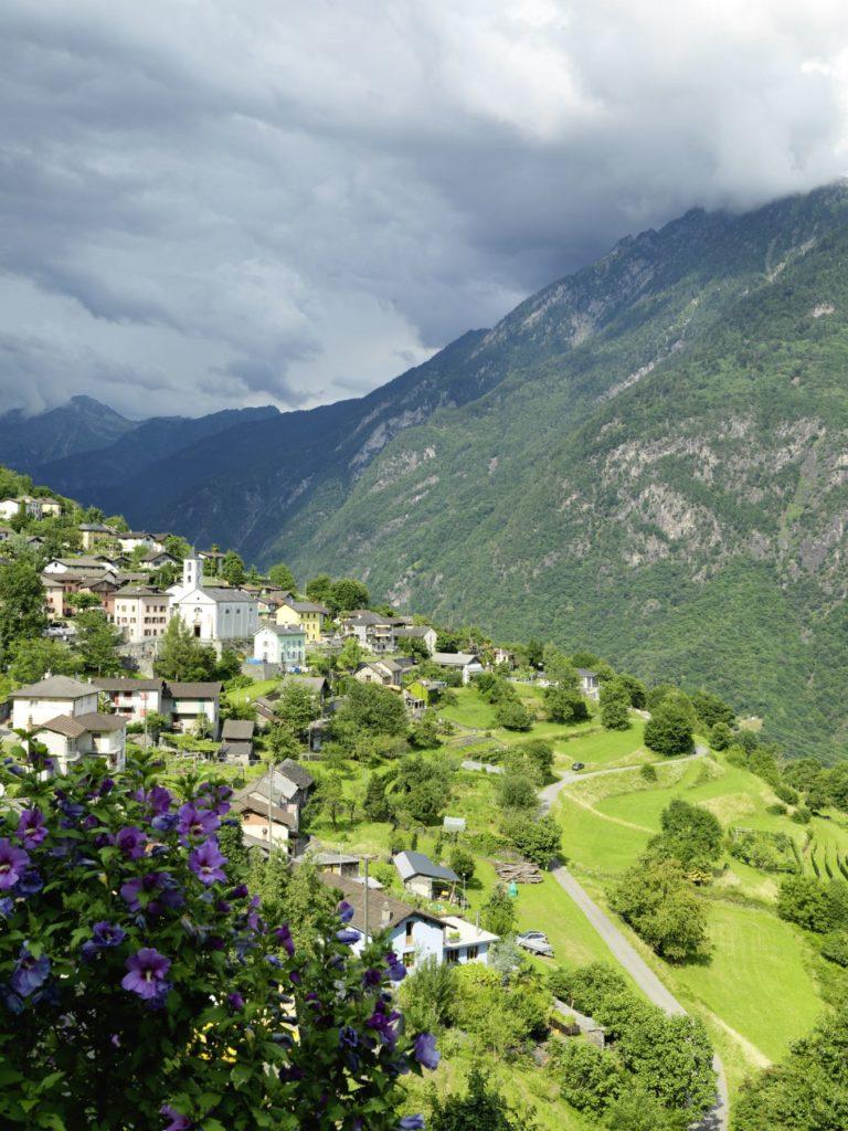 Eine grüne Landschaft mit Dorf und Bergen