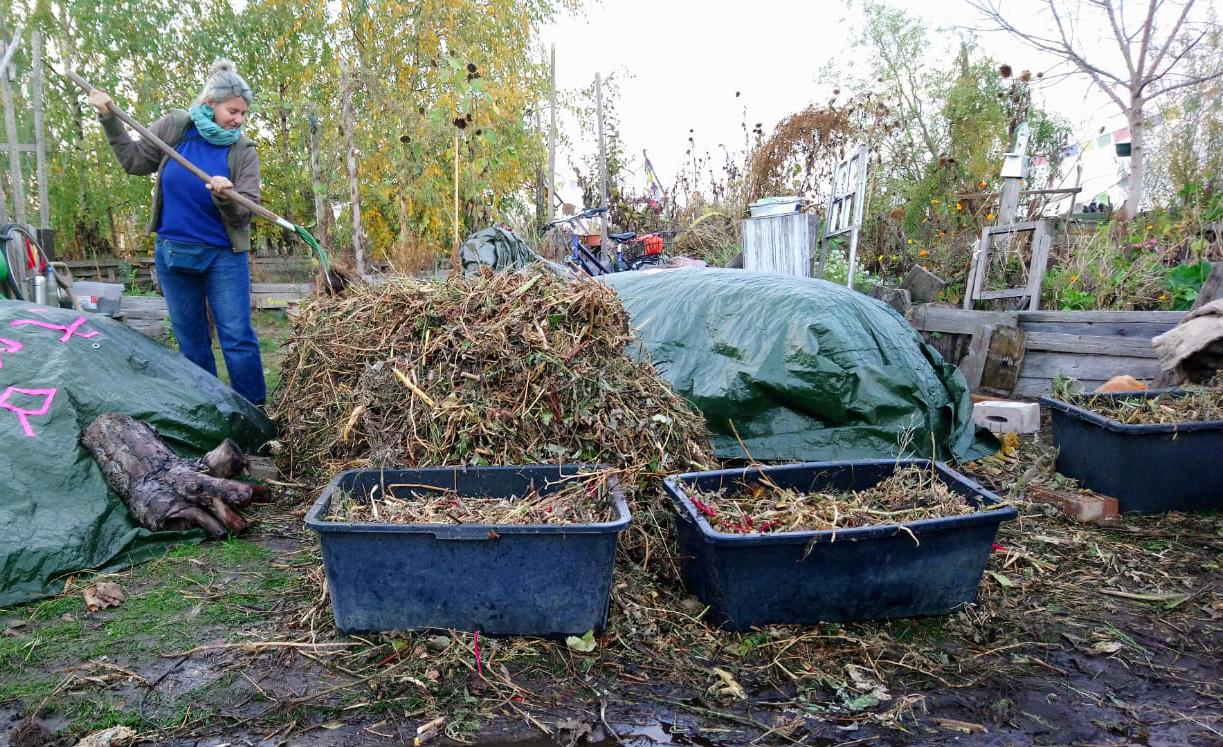Die Expertin Martina Kolarek beim Kompost anlegen