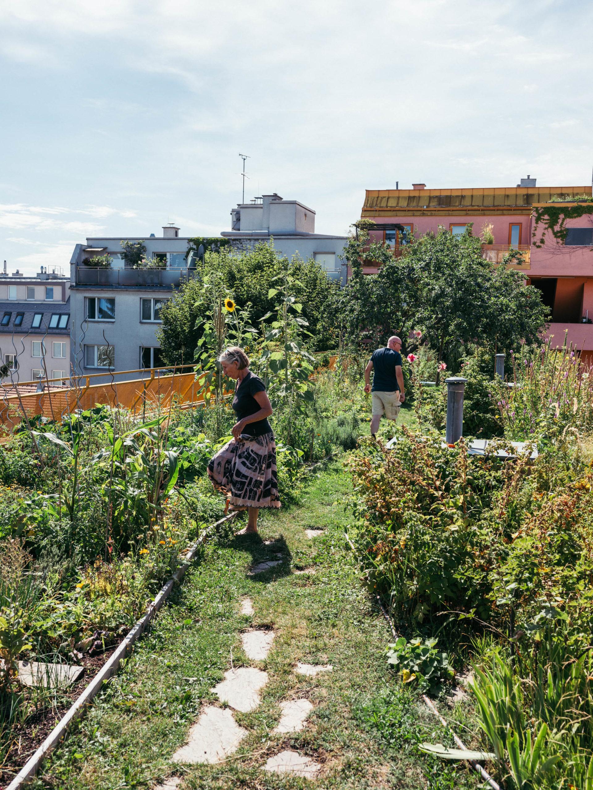 Zwei Leute auf der Dachterrasse vom Wohnprojekt Sargfabrik in Wien