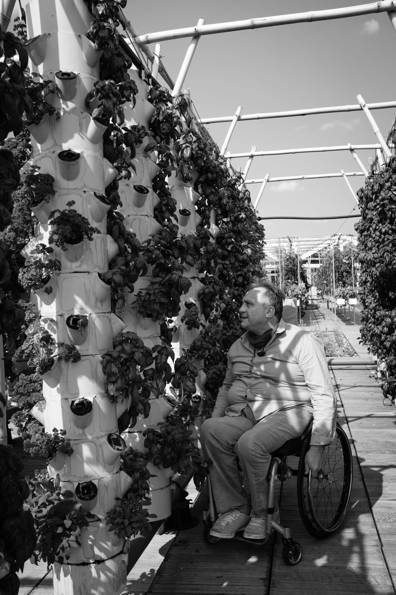 Mann im Rollstuhl auf dem Dachgarten